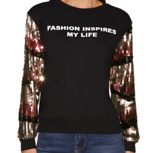 Boston Proper Sequin graphic sweatshirt